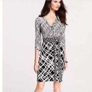 Ann Taylor petite black white wrap dress sz 0 p